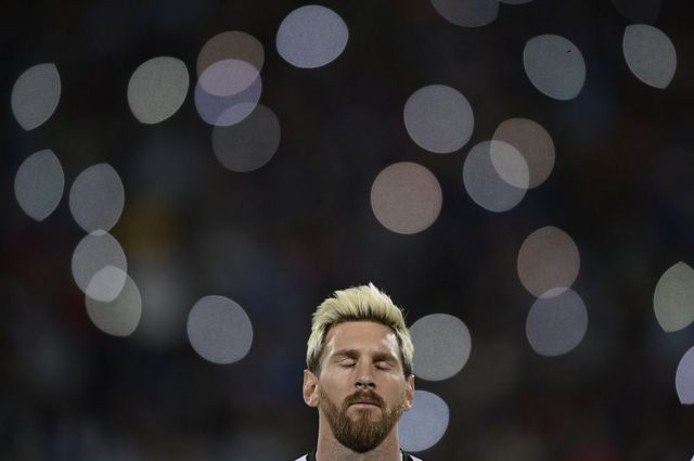 Argentina's Lionel Messi is seen before the start of the Russia 2018 World Cup qualifier football match in Mendoza, Argentina