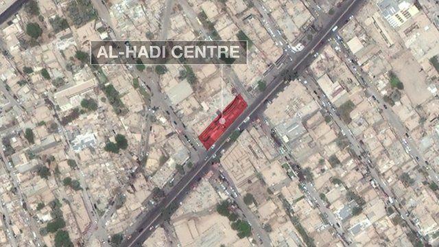 Location of al-Hadi centre, where Baghdad blast was located