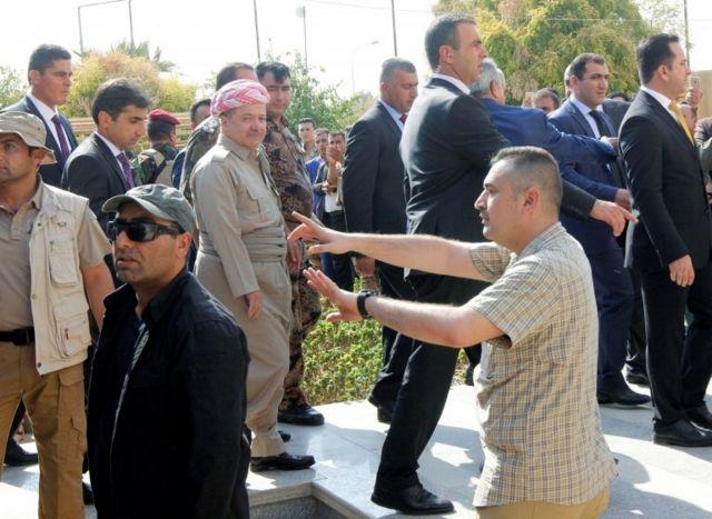 مسعود بارزانی در حال بازدید از کرکوک