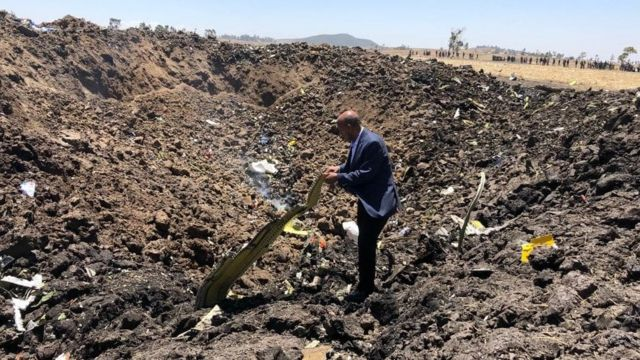 Ethiopian Airlines shared this image and said it showed CEO Tewolde Gebremariam at the crash site