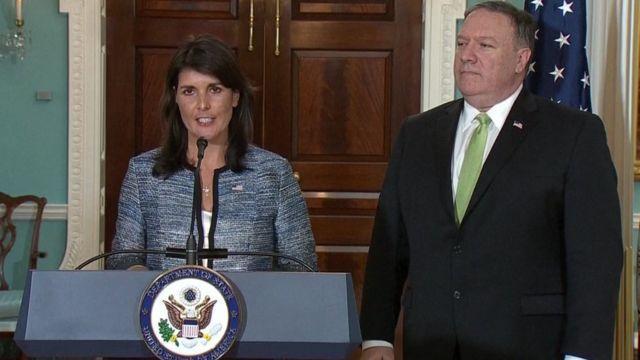 美國常駐聯合國代表妮基·黑利(Nikki Haley)與美國國務卿邁克·蓬佩奧(Mike Pompeo)