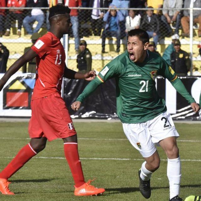 Diego Wayar celebra un gol contra Perú