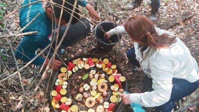 Integrantes da Fundação Ecotrópica preparando alimentos a serem cedidos aos animais