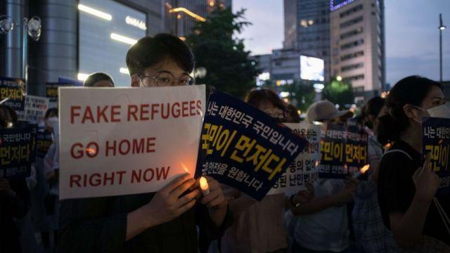 Protestas en Seúl en junio contra la llegada de refugiados.