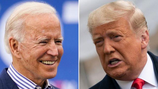 Joe Biden, à esquerda, e Donald Trump, à direita