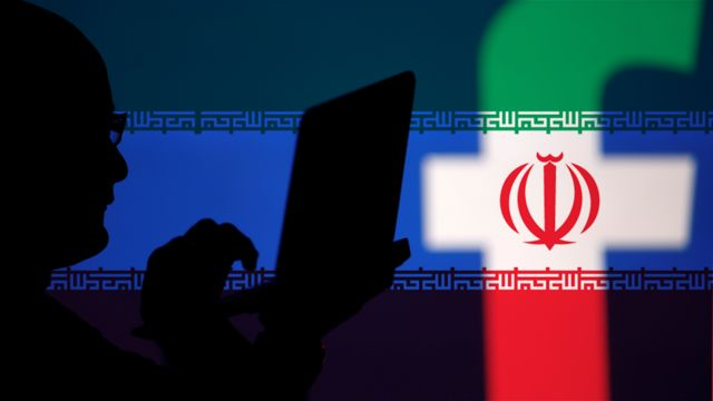 Iran flag over Facebook logo