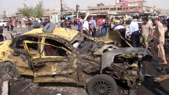 blown up car