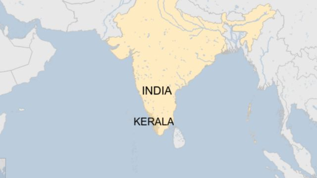 A map showing where Kerala is in India