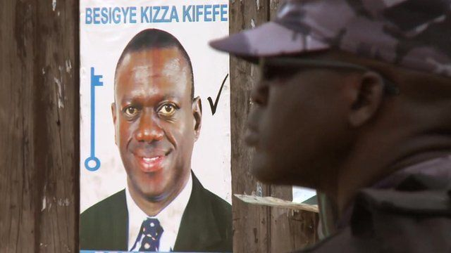 Poster of Kizza Besigye and soldier