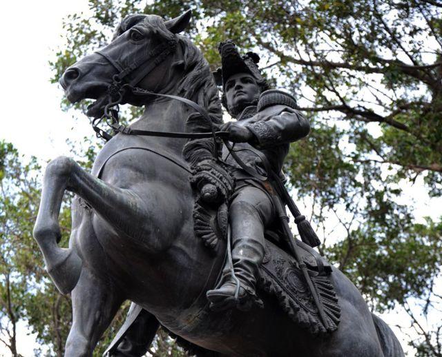 Estatua de Francisco Morazán en el Parque Central de Tegucigalpa.