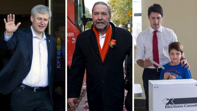 右からハーパー首相、新民主党のトム・マルケア党首、トルドー氏(19日)