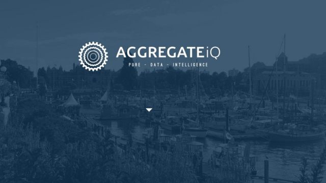 """AggregateIQ logo from its website, with the tagline """"Pure - Data - Intelligence"""""""