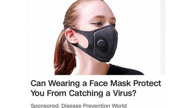 An advert for face masks that appeared on cnn.com