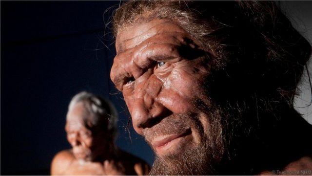 Imagem mostra figuras representando homens neandertais