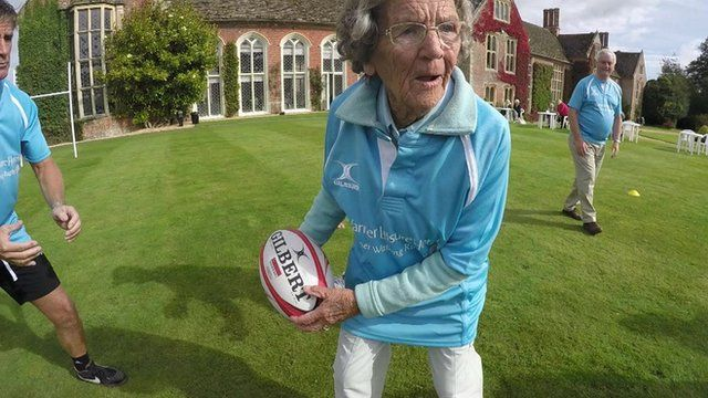 85-year-old Margaret throws a rugby ball