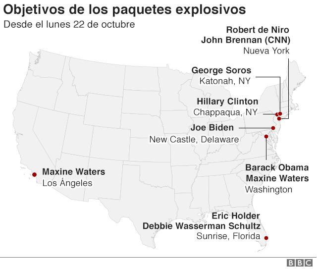 Mapa de Estados Unidos con la localización de las ciudades y personas a las que se ha enviado paquetes explosivos.