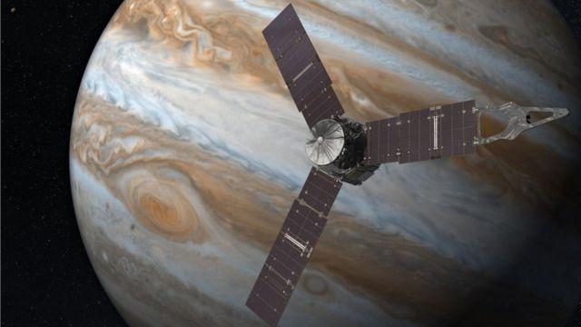 Ilustración de Juno orbitando Júpiter