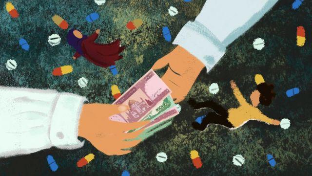 La mano de un hombre dándole dinero afgano a otro