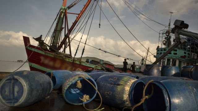 A fishing boat is seen at the port in Songkhla on February 2, 2016