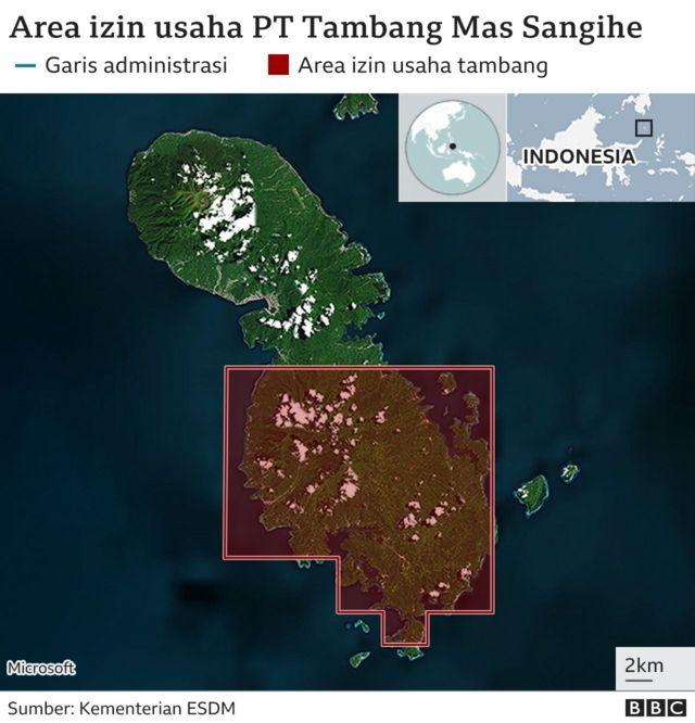 Area izin usaha PT TMS di Pulau Sangihe.