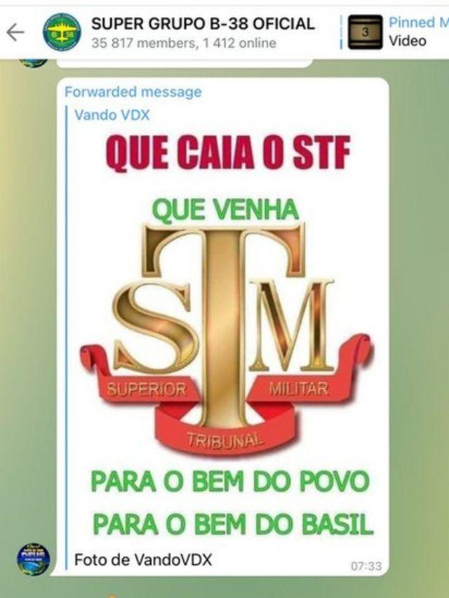 Reprodução de mensagem contra o STF no Telegram