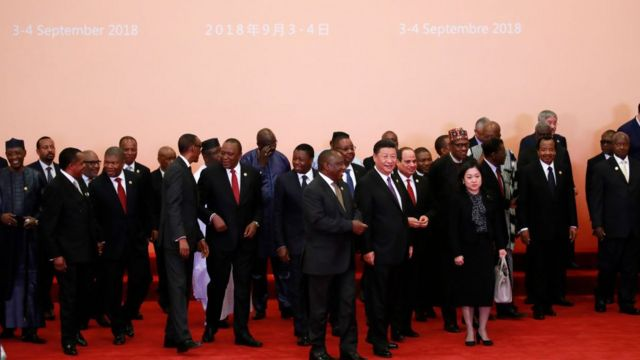 African Leader dey pose on Monday wit China Presido Xi Jinping for Beijing