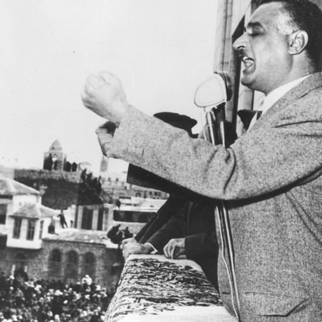 Gamal Nasser during the speech commemorating the second anniversary of the United Arab Republic in Damascus.