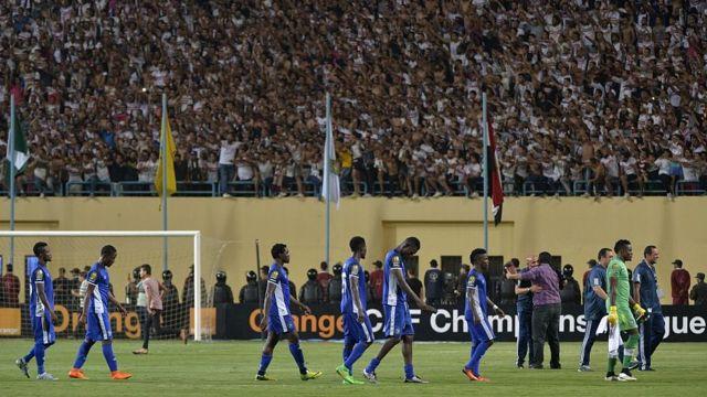 Les Nigérians d'Enyimba lors d'un match contre le Zamalek au Caire en Egypte.