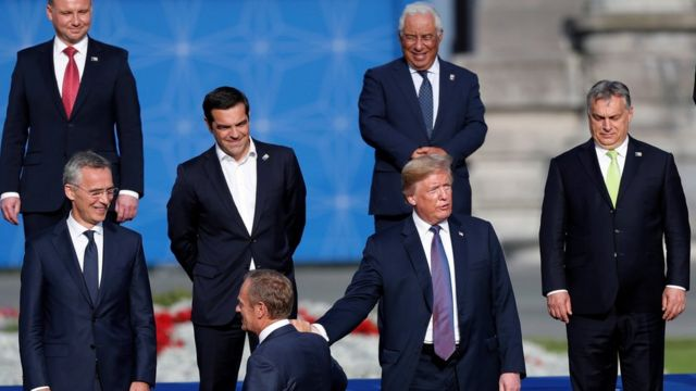 Mr Trump with EU leaders in Brussels - 10 July