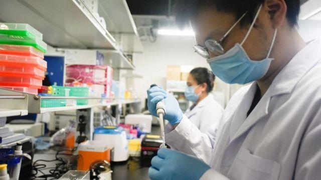 Científicos examinando terapias contra el virus en China.