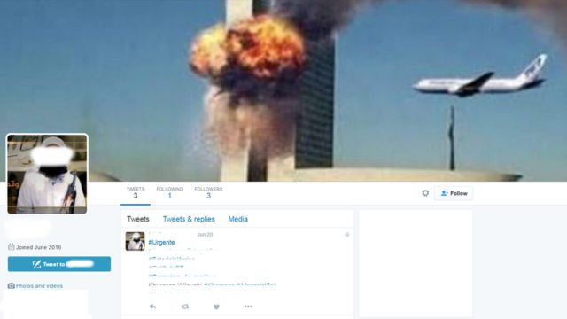 Perfil ligado ao EI no Twitter publica hashtags em português e chama atenção por uma enorme fotomontagem que mostra o Congresso Nacional, em Brasília, em chamas