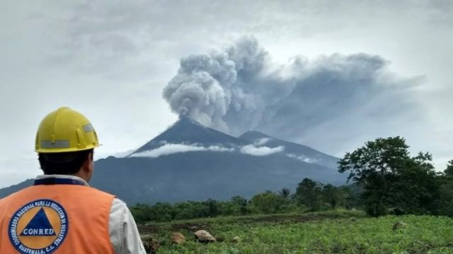 Guatemalan official looks at Fuego volcano