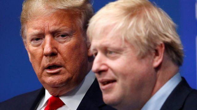 Дональд Трамп, Борис Джонсон на саммите НАТО, январь 2020