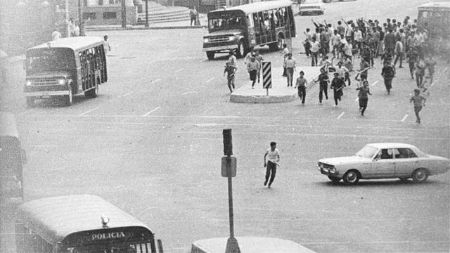 Estudiantes protestando en México el 10 de junio de 1971