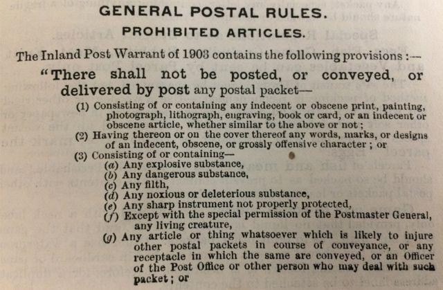 Правила почтовых отправлений с 1903 года