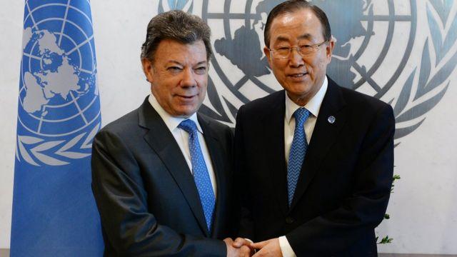 Ban Ki moon y Santos
