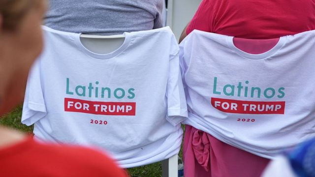 Image shows Latinos for Trump t-shirts