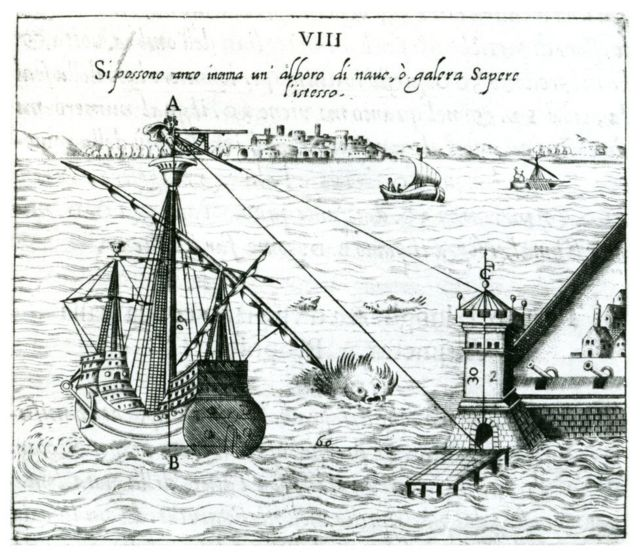 Illustration shows how boats used quadrant