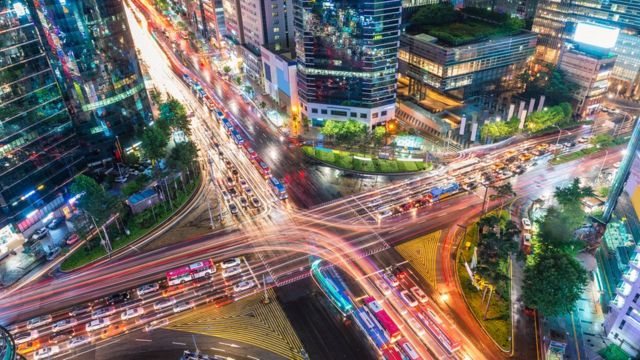 Traffic in Gangnam district of Seoul, South Korea
