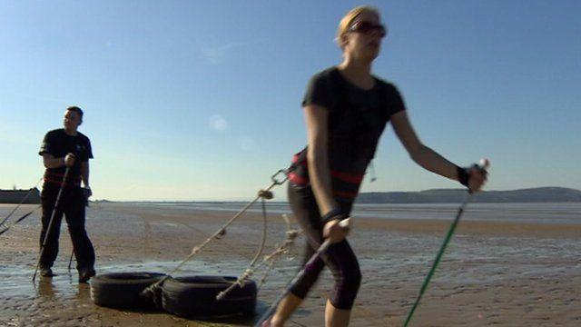 Explorers training on Weston beach