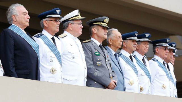 Temer e os comandantes das Forças Armadas