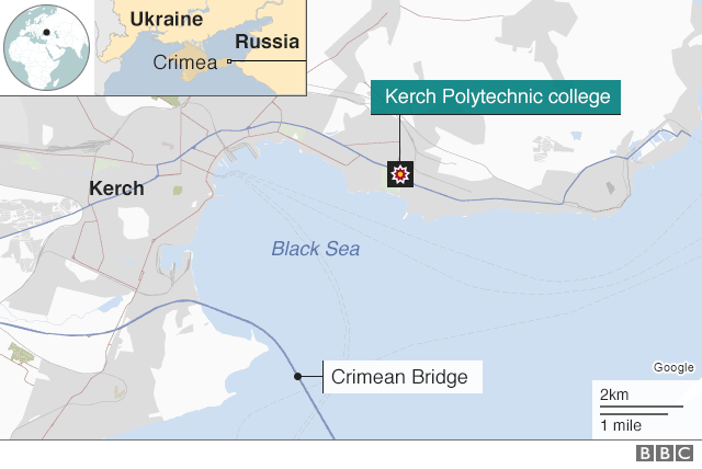 Map showing the location of Kerch in Crimea, scene of a school attack