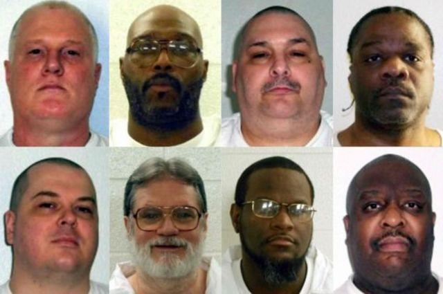 هشت محکومی که ایالت آرکانزاس میخواست در ۱۱ روز اعدام کند. اعدام جیسون مگی (پایین سمت چپ) ۳۰ روز عقب افتاد.