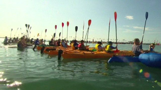 People in various types of small water craft holding their paddles upright in a Hervey Bay ceremony to remember whales killed by hunters