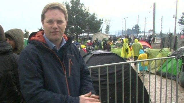 The BBC's correspondent Christian Fraser reports from Greece/Macedonia border.