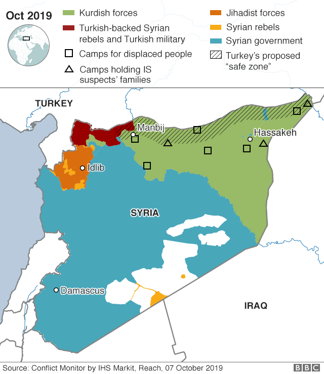 Map of the Syria-Turkey border area