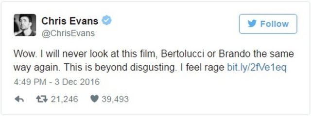 "Chris Evans: ""Wow I will never look at this film, Betolucci or Brando the same way again. This is beyond disgusting, I feel rage."""