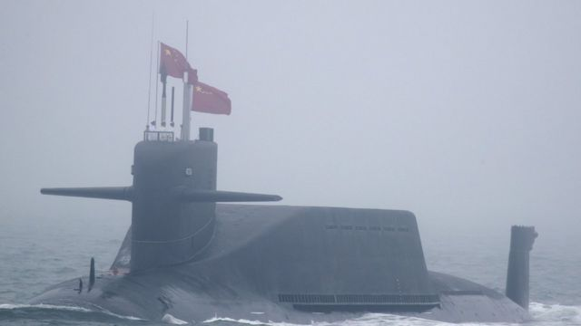A new type 094A Jin-class nuclear submarine Long March 10 of the Chinese People's Liberation Army (PLA) Navy participates in a naval parade to commemorate the 70th anniversary of the founding of China's PLA Navy in the sea near Qingdao, in eastern China's Shandong province on April 23, 2019. -
