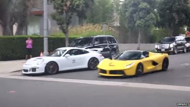Sheikh Khalid Hamad Al-Thani's Ferrari was filmed by passers-by racing through Beverly Hills