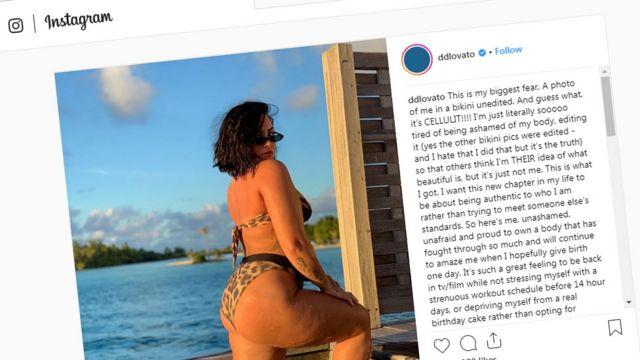 데미 로바토는 인스타그램 게시물에 본인의 몸이 자랑스럽다고 전했다